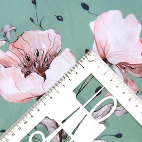 Ткань на отрез ниагара 150 см D0807-1 Крупный цветок на зеленом фото