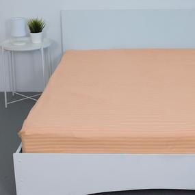 Простынь на резинке страйп-сатин 113 цвет персиковый 140*200*20 см фото