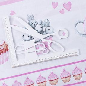 Бязь 120 гр/м2 детская 150 см 9412 Зайчата купон розовые фото