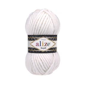 Пряжа ALIZE SUPERLANA MEGAFIL 55-белый (25% шерсть 75% акрил) фото