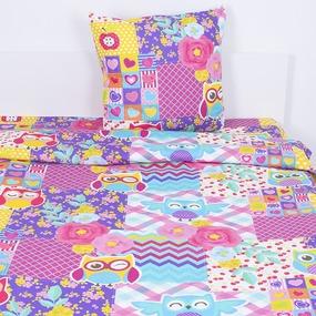Детское постельное белье 13083/1 Цветные совушки 1.5 сп перкаль фото
