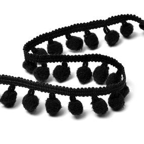 Тесьма с помпонами TBY-ТP-20 ширина 15-20 мм (упак 10 м) цвет F322 (031) черный фото
