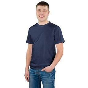 Мужская однотонная футболка цвет темно-синий 48 фото