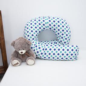 Наволочка поплин на подушку для беременных U-образная 1718/1 цвет мята-василек фото