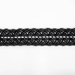 Кружево лен 2210 Черный 4,5см уп 10 м фото