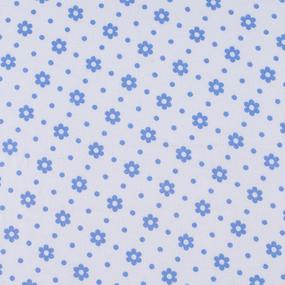 Ткань на отрез фланель 80 см 18052 Ромашки цвет голубой фото