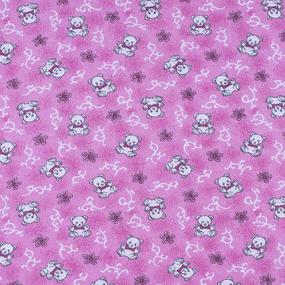 Ткань на отрез фланель 80 см 18079/3 Мишки цвет розовый фото