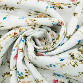 Ткань на отрез штапель 150 см D039 Кустовая роза на белом фото
