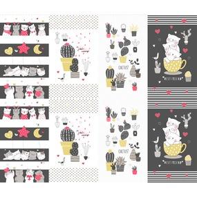 Ткань на отрез рогожка 150 см 3059-1 Котики и кактусы фото
