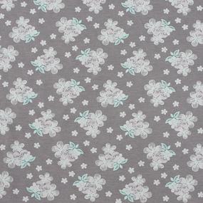 Ткань на отрез кулирка Цветы на коричневом 2202-V20 фото