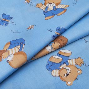 Ткань на отрез бязь ГОСТ детская 150 см 1332/1 За медом цвет голубой фото