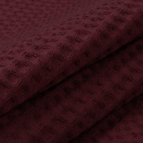 Ткань на отрез вафельное полотно гладкокрашенное 150 см 240 гр/м2 7х7 мм цвет винный фото