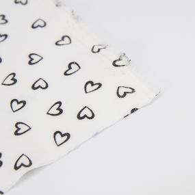 Ткань на отрез супер софт 2417 Сердечки цвет черный фото