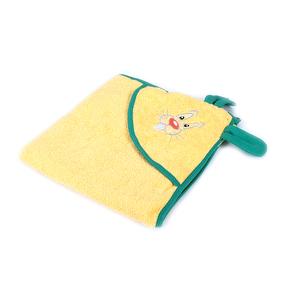 Уголок детский махровый с вышивкой желтый фото