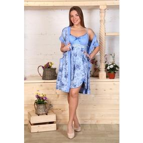Комплект халат Кимоно и сорочка Царица розы на голубом А20 р 56 фото
