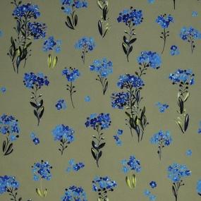 Ткань на отрез ниагара 150 см D056 Синие цветы на зеленом фото