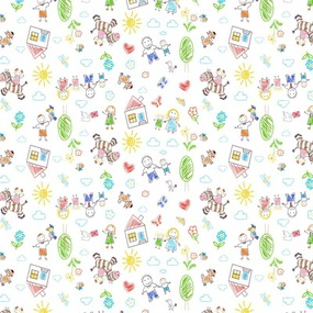 Ткань на отрез фланель 90 см 5539/5 Рисунки карандашами фото