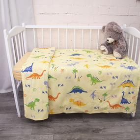 Пододеяльник детский из бязи 464-3 Дино желтый, 110х145 см фото