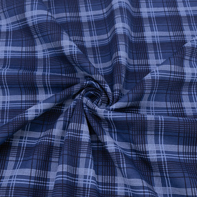 Ткань на отрез кулирка R3026-V1 Клетка на синем фото