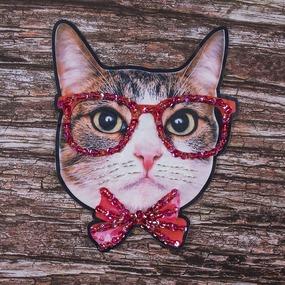 Декоративный элемент пришивной Кот в очках 21*27 см фото