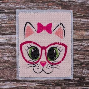 Декоративный элемент пришивной Кошка в очках 19,5*21 см фото