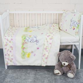 Постельное белье в детскую кроватку с простыней на резинке KT34 сатин фото