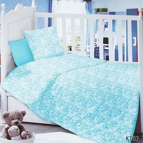 Постельное белье в детскую кроватку с простыней на резинке KT37 сатин фото