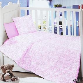 Постельное белье в детскую кроватку с простыней на резинке KT36 сатин фото