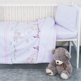 Постельное белье в детскую кроватку с простыней на резинке KT25 сатин фото
