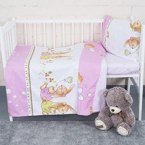Постельное белье в детскую кроватку с простыней на резинке KT16 сатин фото