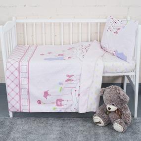 Постельное белье в детскую кроватку с простыней на резинке KT26 сатин фото