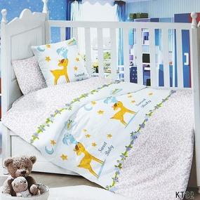 Постельное белье в детскую кроватку с простыней на резинке KT32 сатин фото
