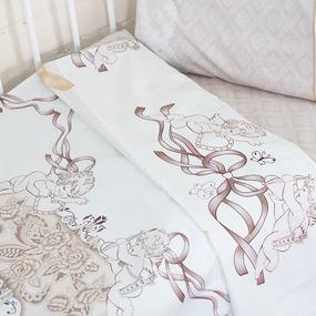 Постельное белье в детскую кроватку с простыней на резинке KT12 сатин фото
