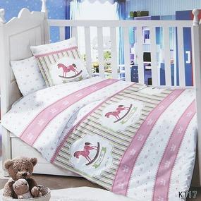 Постельное белье в детскую кроватку с простыней на резинке KT17 сатин фото