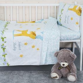 Постельное белье в детскую кроватку с простыней на резинке KT33 сатин фото