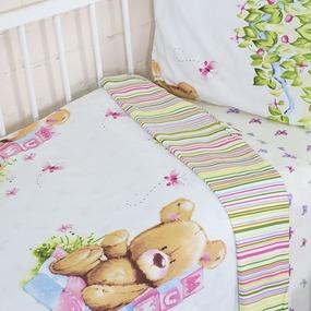 Постельное белье в детскую кроватку с простыней на резинке KT35 сатин фото