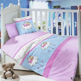 Постельное белье в детскую кроватку с простыней на резинке KT14 сатин фото
