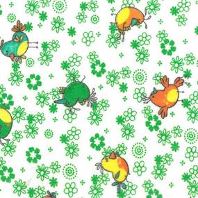 Ткань на отрез фланель белоземельная 90 см 644-2П Птички цвет зеленый фото