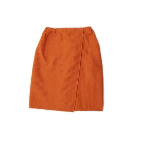Вафельная накидка на резинке для бани и сауны Премиум женская с широкой резинкой цвет 164 оранжевый фото