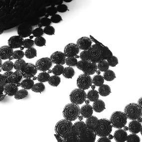 Кружево гипюр 4 см черный 070 1 ярд фото