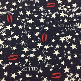 Ткань на отрез футер 3-х нитка Killer star цвет темно-синий фото