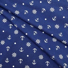 Ткань на отрез кулирка R1354-V1 Якоря цвет синий фото