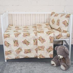 Постельное белье в детскую кроватку 1286/6 Соня бежевый с простыней на резинке фото