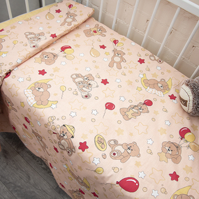 Пододеяльник детский из бязи ГОСТ 350/4 Мишки цвет бежевый, 110х145 см фото