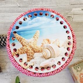 Круглое донышко с печатью Ракушки 15см фото