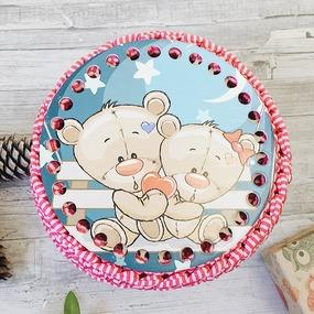 Круглое донышко с печатью Мишки Love 15см фото