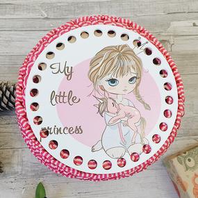 Круглое донышко с печатью Принцесса с пони 15см фото