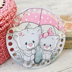 Круглое донышко с печатью Котята под зонтом 15см фото