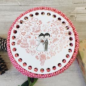 Круглое донышко с печатью Wedding 15см фото