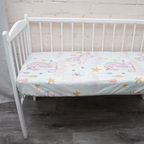 Постельное белье в детскую кроватку из перкаля 13249/1 с простыней на резинке 160/80/15 фото